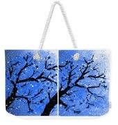 Snow On The Blue Cherry Blossom Tree Weekender Tote Bag