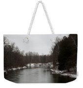 Snow On The Manistee River Weekender Tote Bag