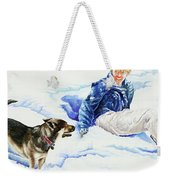 Snow Play Sadie And Andrew Weekender Tote Bag by Carolyn Coffey Wallace