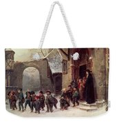 Snow Scene  Children Leaving School Weekender Tote Bag