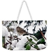 Snow Scene Of Little Bird Perched Weekender Tote Bag