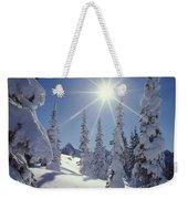 1m4882-snow Laden Tree Sunburst Weekender Tote Bag