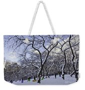 Snowboarders In Central Park Weekender Tote Bag