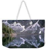 Snowfield Reflection On Blue Lake  Weekender Tote Bag