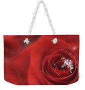 Snowflakes On A Rose Weekender Tote Bag