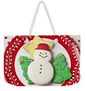 Snowman Cookie Plate Weekender Tote Bag