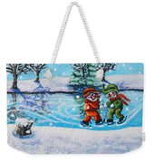 Snowman Friends Ice Skating  P2 Weekender Tote Bag