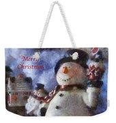 Snowman Merry Christmas Photo Art 05 Weekender Tote Bag