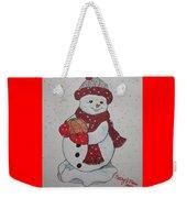 Snowman Playing Basketball Weekender Tote Bag