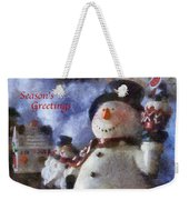Snowman Season Greetings Photo Art 01 Weekender Tote Bag