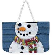 Snowman Winter Fun License Plate Art Weekender Tote Bag
