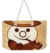 Snowman With Pipe And Topper Original Coffee Painting Weekender Tote Bag