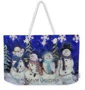Snowmen Season Greetings Photo Art Weekender Tote Bag
