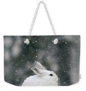 Snowshoe Hare In Snowfall Yellowstone Weekender Tote Bag