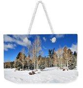 Snowy Aspen Grove Weekender Tote Bag