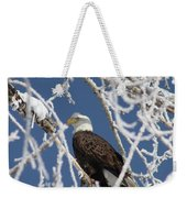 Snowy Bald Eagle Weekender Tote Bag