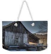Snowy Barn Weekender Tote Bag