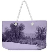 Snowy Bench In Purple Weekender Tote Bag