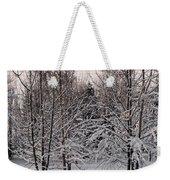 Snowy Bird Bath Weekender Tote Bag