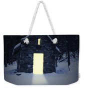 Snowy Chapel At Night Weekender Tote Bag