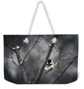 Snowy Chickadee Weekender Tote Bag by Shane Holsclaw