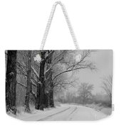 Snowy Country Road - Black And White Weekender Tote Bag