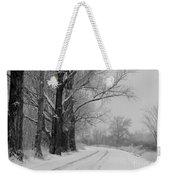 Snowy Country Road - Black And White Weekender Tote Bag by Carol Groenen