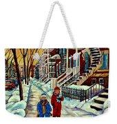 Snowy Day Rue Fabre Le Plateau Montreal Art Winter City Scenes Paintings Carole Spandau Weekender Tote Bag