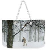 Snowy Deer Weekender Tote Bag