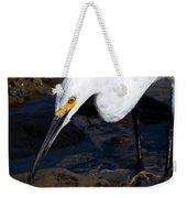 Snowy Egret Dribble Weekender Tote Bag
