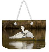 Snowy Egret With Lunch Weekender Tote Bag