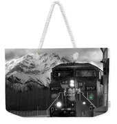 Snowy Engine Through The Rockies Weekender Tote Bag