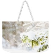 Snowy Evergreen Weekender Tote Bag