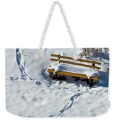 Snowy Foot Prints Around Snow Covered Park Bench Weekender Tote Bag