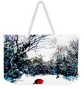 Snowy Forest At Christmas Time Weekender Tote Bag