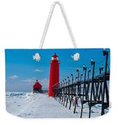 Snowy Grand Haven Pier Weekender Tote Bag