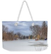 Snowy Lake Weekender Tote Bag