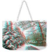 Snowy Lane - Use Red/cyan Filtered 3d Glasses Weekender Tote Bag