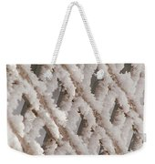 Snowy Lattice Vertical Weekender Tote Bag