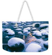 Snowy Merced River With Reflection Weekender Tote Bag