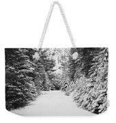 Snowy Mountain Road - Black And White Weekender Tote Bag