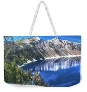 Snowy Mountains Reflected In Crater Lake Weekender Tote Bag