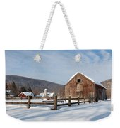 Snowy New England Barns Weekender Tote Bag