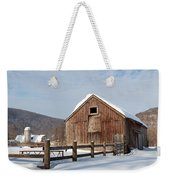 Snowy New England Barns Square Weekender Tote Bag
