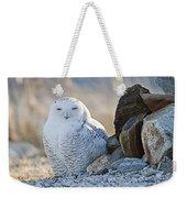 Snowy Owl Among The Rocks Weekender Tote Bag