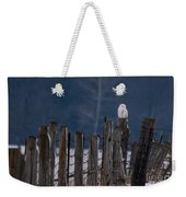 Snowy Owl On A Fence Weekender Tote Bag