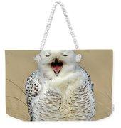Snowy Owl Yawning Weekender Tote Bag