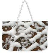 Snowy Path And Paw Prints Weekender Tote Bag
