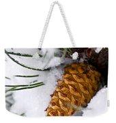 Snowy Pine Cone Weekender Tote Bag