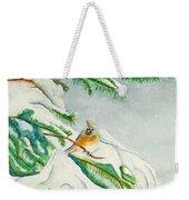 Snowy Pines And Cardinals Weekender Tote Bag